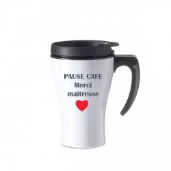 Mug isotherme blanc Pause café coeur rouge