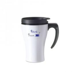 Mug isotherme blanc pause récré café fumant bleu