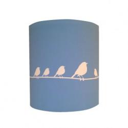 Applique oiseaux blanc fond bleu personnalisable