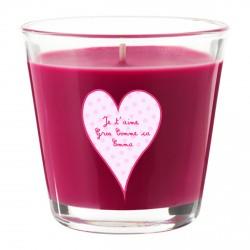 Bougie parfumée rose fuchsia coeur rose personnalisable