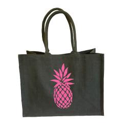 Sac cabas toile de jute gris foncé ananas rose pailleté