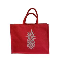 Sac cabas toile de jute rouge ananas argent pailleté