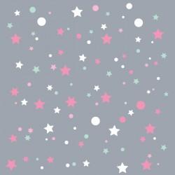 Papier peint gris étoiles de la galaxie roses et menthe