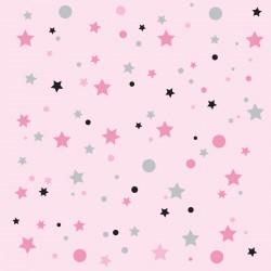 Papier peint rose pâle étoiles de la galaxie noires et grises