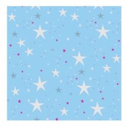 Papier peint étoiles magiques bleu ciel et rouges