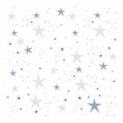 Papier peint étoiles magiques bleu turquoise et gris