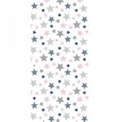 Papier peint étoiles roses, marines et grises