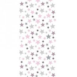 Papier peint étoiles roses, taupes et grises