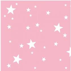 Papier peint  étoiles blanches fond rose