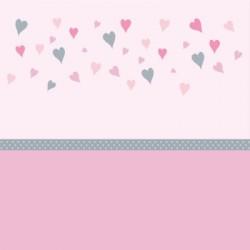 Papier peint coeurs rose et gris bas rose