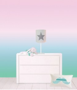 Papier peint décor ciel rose vert XL