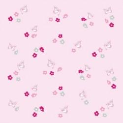 Papier peint fleurs et papillons roses et gris fond rose