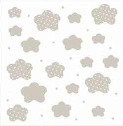 Papier peint nuages et étoiles beiges fond blanc