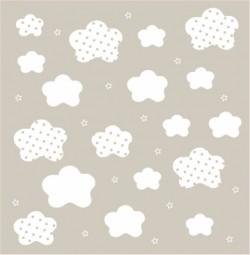 Papier peint nuages et étoiles blancs fond beige