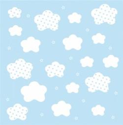 Papier peint nuages et étoiles blancs fond bleu