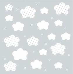 Papier peint nuages et étoiles blancs fond gris