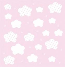 Papier peint nuages et étoiles blancs fond rose