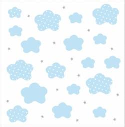 Papier peint nuages et étoiles bleus fond blanc