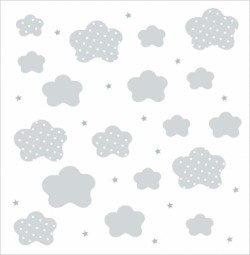 Papier peint nuages et étoiles gris fond blanc