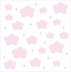Papier peint nuages et étoiles roses fond blanc