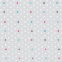 Papier peint petits pois gris, turquoise et fushia