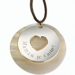 Pendentif Message du coeur - Argent et Nacre