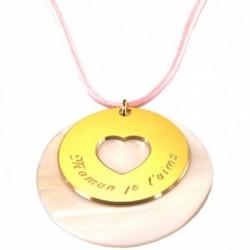Pendentif Message du coeur - Plaqué or et Nacre
