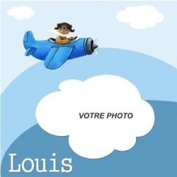 Petit pêle mêle ours avion bleu personnalisable