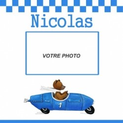 Petit pêle mêle ours en voiture bleue personnalisable