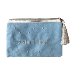 Pochette bleue plume a star is born personnalisable