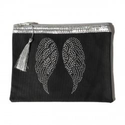 Pochette noire ailes d'ange personnalisable