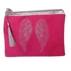 Pochette rose fuchsia ailes d'ange personnalisable