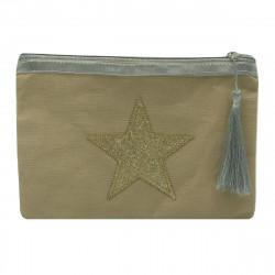 Pochette beige étoile dorée personnalisable