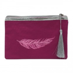 Pochette fuchsia plume rose pailletée personnalisable