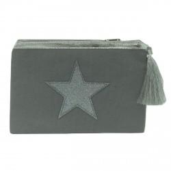 Pochette grise étoile argentée personnalisable