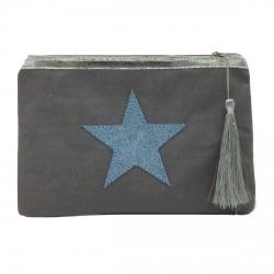 Pochette grise étoile bleue personnalisable