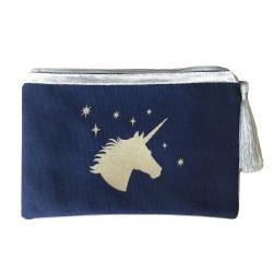 Pochette bleu marine licorne dorée personnalisable