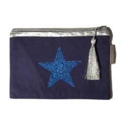 Pochette bleu marine étoile bleue personnalisable
