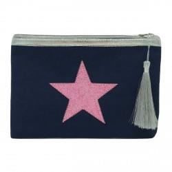 Pochette bleu marine étoile pailletée rose clair personnalisable