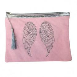 Pochette rose ailes d'ange personnalisable