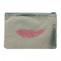 Pochette rose plume rose pailletée personnalisable