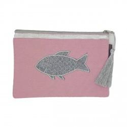Pochette rose pâle poisson argenté