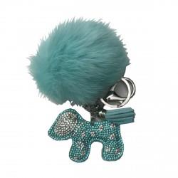 Porte-clé pompon et chien menthe