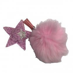 Porte clé pompon et étoile rose