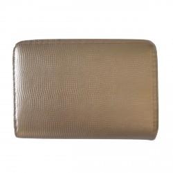 Porte-monnaie doré en cuir