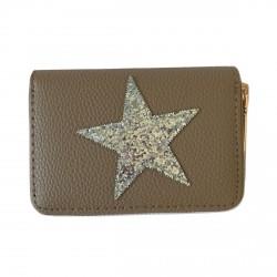 Porte-monnaie marron étoile pailletée grise
