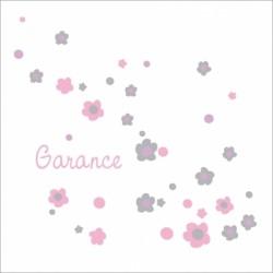 Prénom fleuri rose et gris