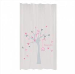 Rideau arbre à coeurs rose et gris