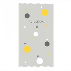 Rideau gris motif bulles et étoiles jaunes, blanches et grises