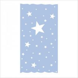 Rideau OSCAR  étoiles blanches fond bleu ciel